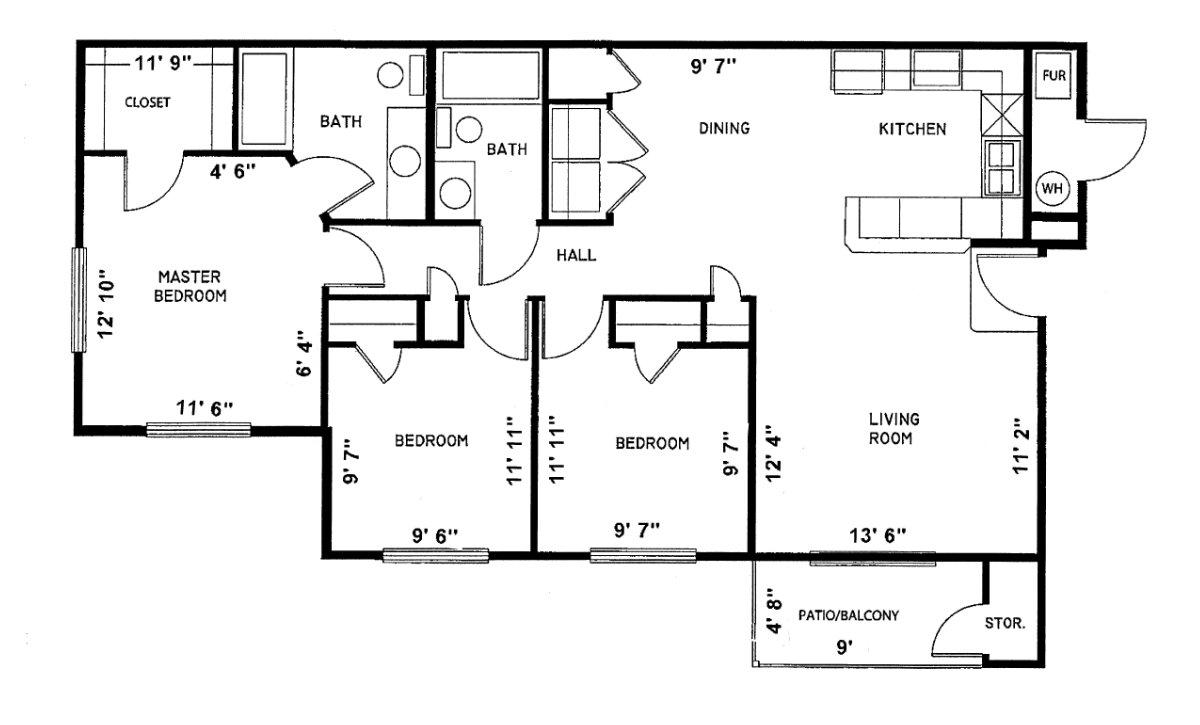 3 Bedroom phase-1 Sundance Apartments